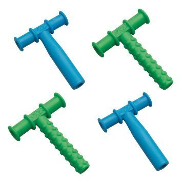 Chewy Tubes Teether Combo, 4 Pack (Blue/Green) by The Sensory University