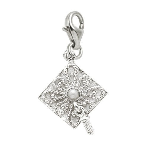 Rembrandt Charms Graduation Cap Charm with Lobster Clasp, Sterling Silver Sterling Cap