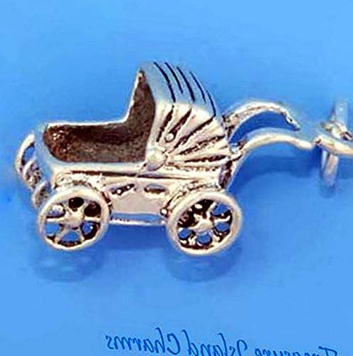 ggy Carriage Stroller 3D .925 Solid Sterling Silver Charm Vintage Crafting Pendant Jewelry Making Supplies - DIY for Necklace Bracelet Accessories by CharmingSS ()