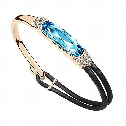 HOX Swarovski Elements Crystal Bracelet Luxury Lady Retro Leather Rope Diamond Bracelet Ethnic Style Swarovski Elements Crystal Alloy Gold Plated Gold, Ocean blue&gold