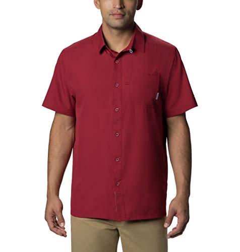 Columbia Standard Mens Slack Tide Camp Shirt, Moisture Wicking, Beet, Medium