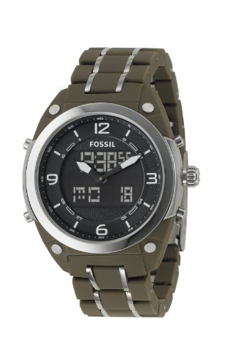 Fossil Men's BQ9383 Olive Stainless Steel Bracelet Black Analog-Digital Dial Watch