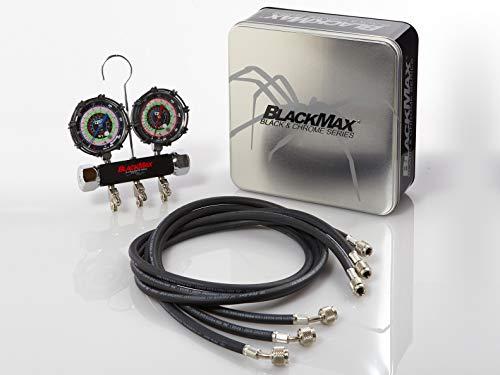 CPS Products BlackMax MBH4P5Z 2-Valve Manifold Gauge Set, R-134A, 22, 404A, 410A Gauges & 5' Premium Hoses ()
