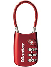 Padlock, Set Your Own Combination TSA Accepted Cable Luggage Lock, 1-3/16 in. Wide, Red, 4688DRED