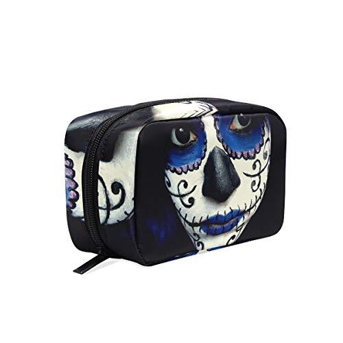 Makeup Organizer Guy Sugar Skull Makeup Womens Zip Toiletry Bag Large Case Cosmetic -