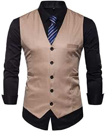 cb3332f1e05 INVACHI Men s Slim Fit Suit Vest V-Neck Formal Business Waistcoat Dress Vest