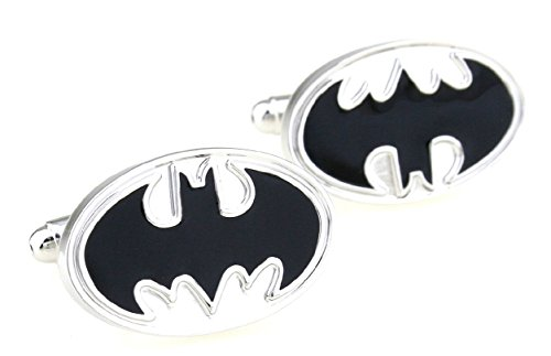 BadmenHome Classic Batman Enamel Oval Logo Cufflinks gifts for Wedding Groomsman Suit Sleeve button