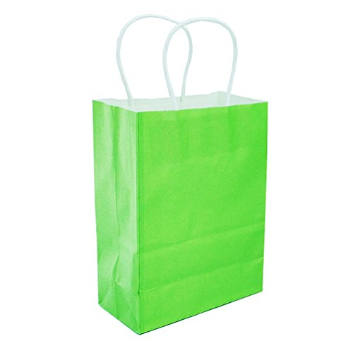 AZOWA Gift Bags Light Green Kraft Paper Bags with Handles Party Supplies Set of 25 -