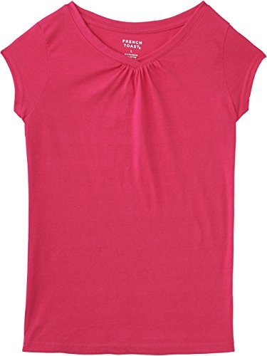 Tee T-shirts Burst - French Toast School Uniform Girls Short Sleeve V-Neck T-Shirt with Front Gathers, Fuchsia Burst, Large (12/14)