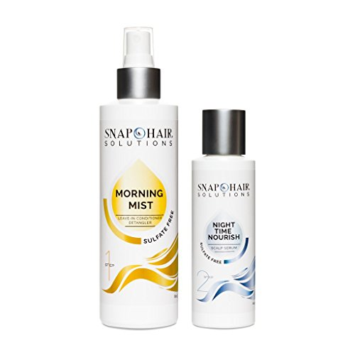 Snap Hair ExcelaGrowth3X Curly Hair Solutions Hair Repair Kit Duo to Grow Hair Fast. Daily Leave In Conditioner and Night Hair Growth Treatment Transforms Wavy Curly Coiled Hair into Sexy Locks