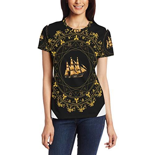 T Shirt for Women Girls Sailboat Flwer Ring Custom Short Sleeve -