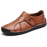 Men's Leather Causal Loafers Shoes Slip on Handmade Flats Classic Comfortable Oxford Boat Walking Shoes