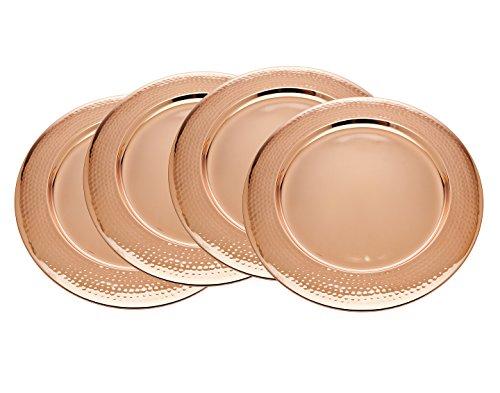Godinger Silver Art Rose Gold Hammered Charger Set of 4