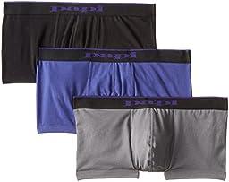 Papi Men\'s 3-Pack Brazilian Solid Trunk, Purple/Grey/Black, Medium