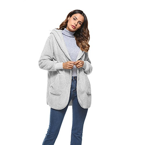 Shaggy Lined Hoody (yubinyu Women's Winter Long Fuzzy Fleece Coat Casual Jackets Warm Slim Fit Overcoat Outwear,Grey)