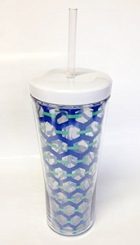 Contigo Bueno 24 oz. Double Wall Insulated Tumbler and Straw - Blue Chain Link