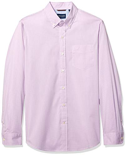 Dockers Men's Long Sleeve Button Front Comfort Flex Shirt, Micro Check Lupine Pattern, ()