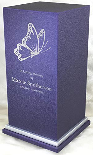 Personalized Engraved Butterfly Cremation Urn for Human Ashes-Made in America-Handcrafted in The USA by Amaranthine Urns (Adult Funeral Urn up to 200 lbs Living Weight) Eaton SE- (Purple Velvet)