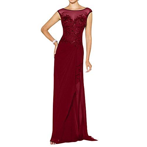 La_mia Brau Elegant Chiffon Kurzarm Abendkleider Brautmutterkleider Festlichkleider Ballkleider Partykleider Mit Pailletten perlen Weinrot 0ts8U3o