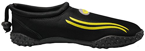 Einfache Männer & Frauen Wasser Schuhe Pool Beach Aqua Socken, Übung Kordelzug Schwarz Gelb