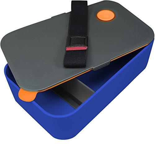 Chefarone Lunchbox - Praktische Brotdose - Bento Box - Jausenbox - Lunch Box mit Trennwand - Perfekt für Büro - Schule - Kinder Garten - blau