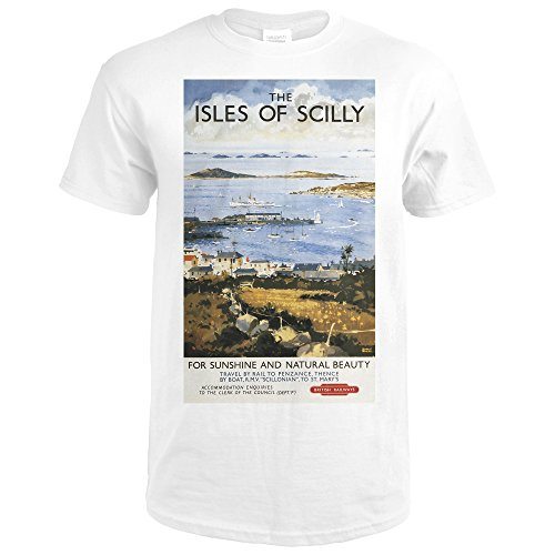 Town Docks (Scilly, England - Aerial Scene of Town and Dock Railway - Vintage Travel Poster (Premium White T-Shirt Large))