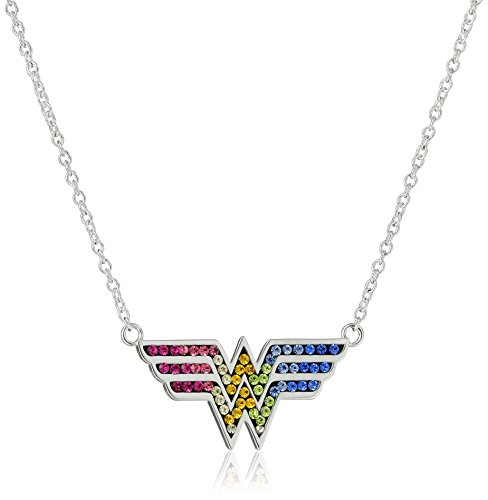 DC+Comics Products : DC Comics Silver-Plated Wonder Woman Crystal Pendant Necklace, 18''