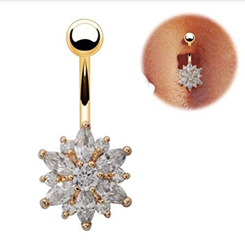 Stainless Steel Flower Crystal Navel Bars Gold Belly Button Ring