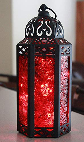 Vela Lanterns Moroccan Style Candle Lantern with LED Lights, Medium, Red Glass