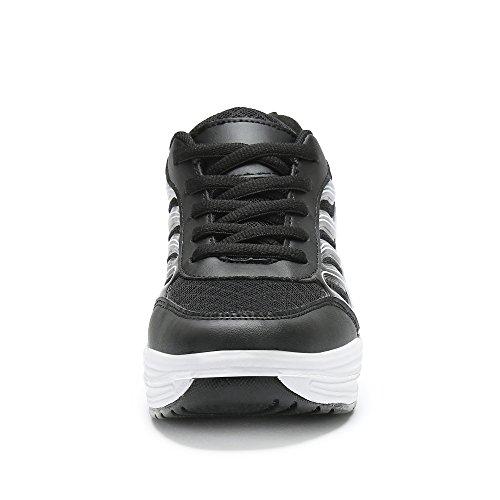 Saguaro Platform Toning Rocker Schoenen Womens Tennis Sneakers Sleehakken Vormen Een Dikke Zool Voor Zwart Lopen