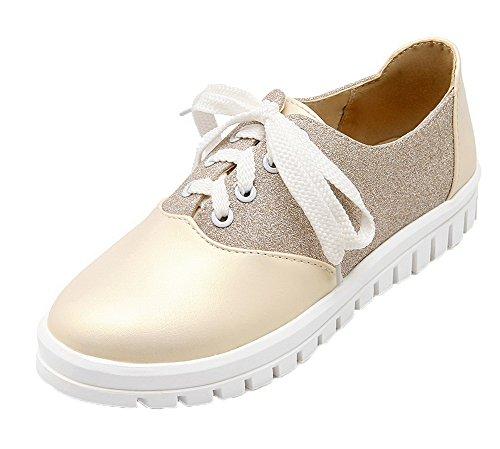 Amoonyfashion Womens Ronde Neus Lace-up Pu Diverse Kleuren Lage Hakken Pumps-schoenen Goud