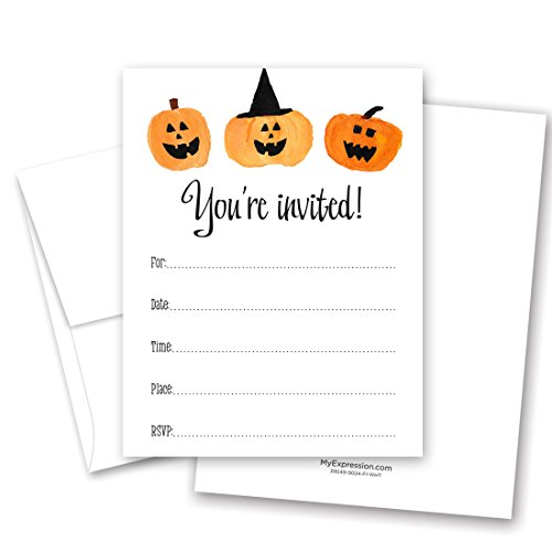 (MyExpression.com 24 Halloween Party Jack-o-Lantern Fill-in Invitations and Envelopes)
