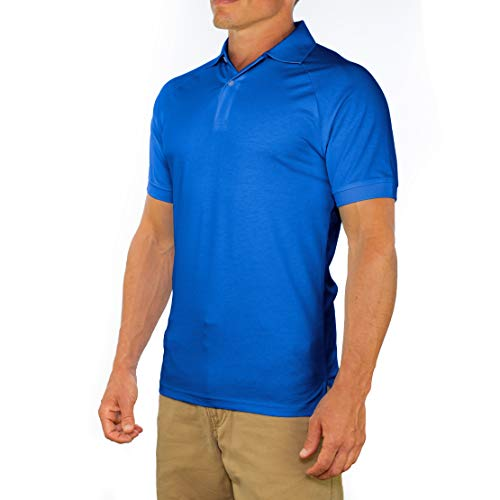 - Comfortably Collared Men's Perfect Slim Fit Short Sleeve Soft Fitted Polo Shirt, Large, Royal Blue
