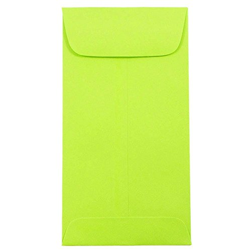 - JAM PAPER #7 Coin Business Colored Envelopes - 3 1/2 x 6 1/2 - Ultra Lime Green - 50/Pack