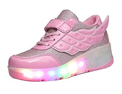 Gaorui Christmas Women Girl LED Light Up Shoes wheels Roller Shoes Skateboard Sneakers Flash Dance Boot