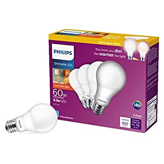 Philips LED 479576 9.5A19/PER/827-22/P/E26/WG 4/4BB Light Bulb, 4-Pack, Frosted, 4 Count