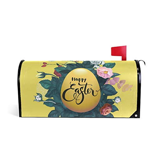 Magnetic Mailbox Cover Greetings Personalized Home Garden Decorative Mailbox Post Wrap Standard/Large Sized Outdoor Courtyard Garden Fence Happy Easter Written On Golden Egg Roses And Small Bird ()