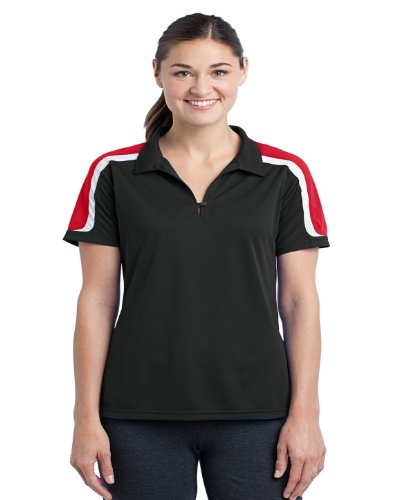 Sport-Tek Women's Tricolor Shoulder Polo Shirt_Black/True Red/White_2XL ()