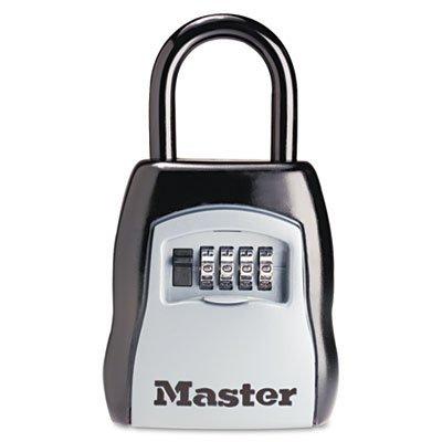 Locking Combination 5 Key Steel Box, 3 1/2w x 1 5/8d x 4h, Black/Silver, Sold as 1 Each
