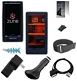 9 in 1 Accessory Combo for Microsoft Zune HD 16GB / 32GB Series: Includes Clear Crystal Snap On Hard Case + Black Silicone Skin Case + LCD Screen Protector + Black Belt Clip + Armband + USB Home / Travel Charger, USB Car Charger, USB 2in1 Data Sync Cable and Light Blue Fishbone Style Keychain