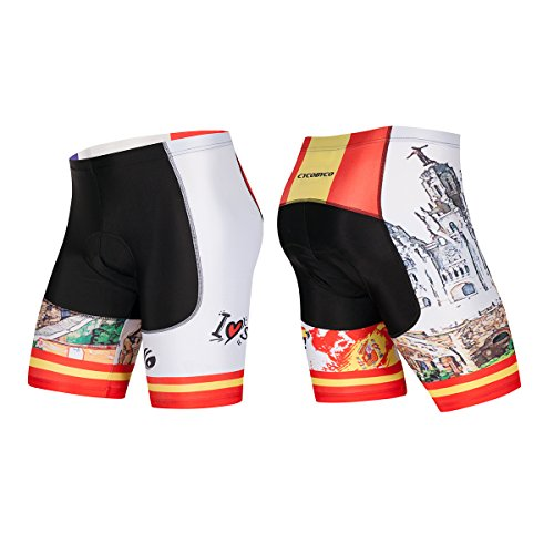 CYCOBYCO Men's Cycling Shorts 4D Padded Shockproof MTB Bicycle Road Bike Half Pants Italy,France,Brazil,Spain Style(Asia M=US Small, CY609)