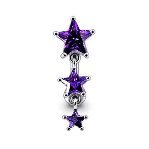 one Triple Star Dangling Reverse Bar 925 Sterling Silver Belly Ring Body jewelry ()