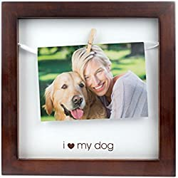 Pearhead Pet I Love My Dog Clothespin Photo Frame, Perfect Keepsake Gift for Dog Lovers