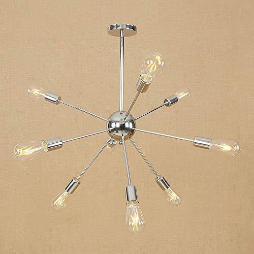 Ganeep 9-Light Creative Wrought Iron Chandelier Modern E27 Edison Light Bulb Pendant Lighting Brushed Nickel Vintage Ceiling Light Fixture (Color : Chrome)