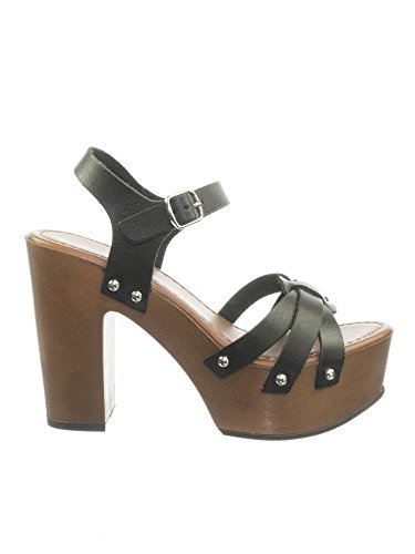 Delicious Retro 70s Lightweight Sculpted Faux Woodgrain Clog Block Heel Sandal
