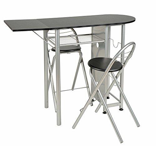 ts-ideen Essgruppe 3-teilig, Frühstückstisch MDF, Tisch 89x120cm auf Rollen Stuhl Stühle für Küche, Esszimmer, Studentenwohnung oder Büro