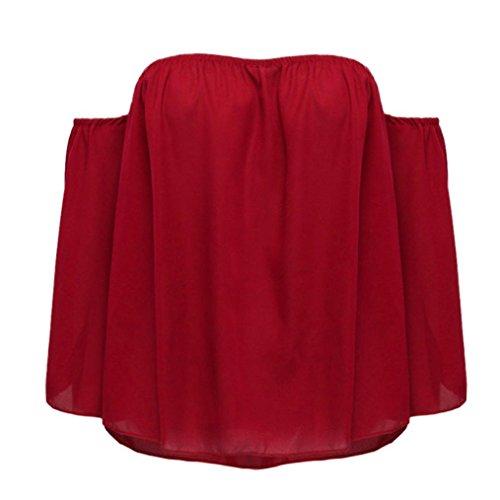 Lqqstore Sciolto Chiffon Senza Pullover Lunga Parola Lunga Una Blusa Maglietta A Spalline Rosso Moda Colletto Camicetta Sexy Autunno Casuale Donna Manica gqgrwaUZ