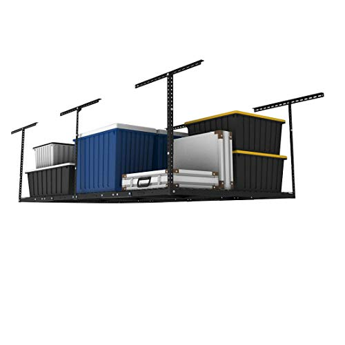 FLEXIMOUNTS 4x8 Overhead Garage Storage Rack Adjustable Ceiling Garage Rack Heavy Duty, 96' Length x 48' Width x (22''-40' Ceiling Dropdown), Black (Two-Color Options)