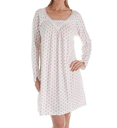 - Carole Hochman Rose Floral Long Sleeve Short Gown (CH61650) S/Pink Buds