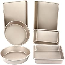 """CHEFMADE Non-stick Bakeware Set 6-Pieces Carbon Steel Baking pan, Oven Roasting Round 9"""", 9""""x 5"""", Square 8"""" ,13""""x 9""""x 1"""",13""""x 9""""x 2.4""""(Champagne Gold)"""